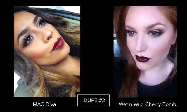 MAC Diva vs wet n wild cherry bomb